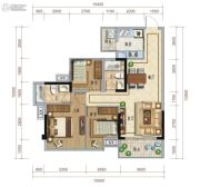保利心语3室2厅2卫90平方米户型图
