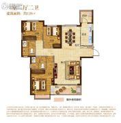 南昌恒大城3室2厅2卫128平方米户型图