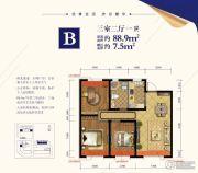 金辉优步大道3室2厅1卫88--96平方米户型图
