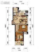 绿城・风华园2室2厅1卫80平方米户型图
