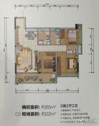 城市名庭3室2厅2卫85平方米户型图