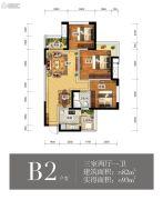 瑞升望江橡树林3室2厅1卫82平方米户型图