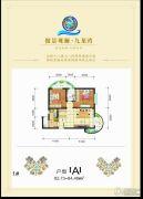 傲景观澜九龙湾2室1厅1卫82--84平方米户型图