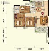 天鹅湾3室2厅2卫107平方米户型图