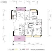 凯景华府3室2厅2卫121平方米户型图