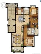 悦山湖3室2厅2卫115平方米户型图