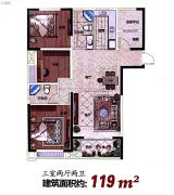 百大周谷堆农产品国际物流园3室2厅2卫119平方米户型图