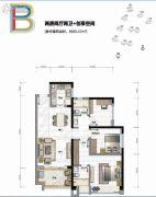 华发峰尚2室2厅2卫93平方米户型图