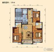 景山名门3室2厅1卫128平方米户型图