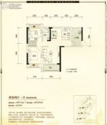 公园1号2室2厅1卫89平方米户型图