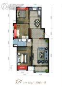 泽信加州公馆3室2厅1卫125平方米户型图