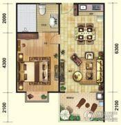 芭提雅火山岩温泉小镇1室2厅1卫56平方米户型图