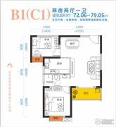 盛景天地美寓2室2厅1卫72--79平方米户型图