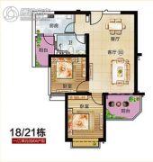 恒大御景半岛2室2厅2卫86平方米户型图