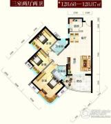 怡景江南3室2厅2卫128平方米户型图