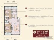 万泰锦绣华城三期2室2厅1卫97平方米户型图