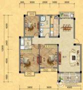南越・西城华府3室2厅2卫136平方米户型图