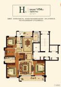 绿城玫瑰园・慧园4室2厅2卫156平方米户型图