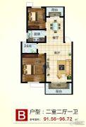 姜水龙湾2室2厅1卫91--96平方米户型图