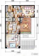 东和福湾1室1厅1卫72平方米户型图