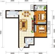 宏府・麒麟山2室2厅1卫75平方米户型图