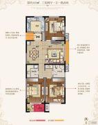 东方现代城3室2厅1卫125平方米户型图