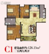 博顺未来华城3室2厅2卫128平方米户型图