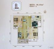 沙市天地2室2厅1卫86平方米户型图