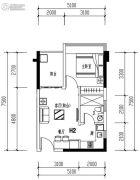 华发城建未来荟1室2厅1卫43平方米户型图