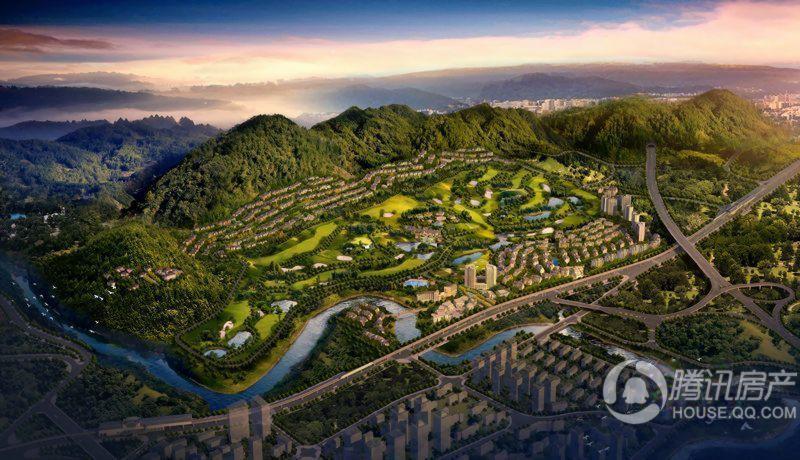 远洋高尔夫国际社区社区整体鸟瞰效果图