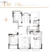 华发四季3室2厅2卫118平方米户型图