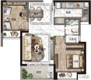 华发国际海岸1室2厅1卫0平方米户型图