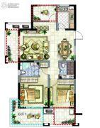 新湖明珠城2室2厅2卫108平方米户型图