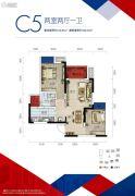 中国摩2室2厅1卫54平方米户型图