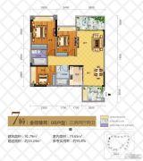 华茵・桂语3室2厅2卫91平方米户型图