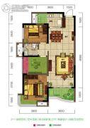 旺德府恺悦国际3室2厅2卫88平方米户型图