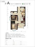 天朗美域2室2厅1卫77平方米户型图
