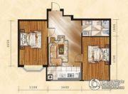 金山翰林苑2室1厅1卫64平方米户型图