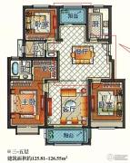 嘉和丽苑 小高层3室2厅2卫125--126平方米户型图