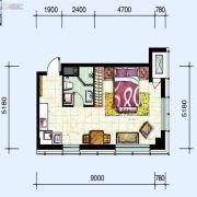 华府新天地1室1厅1卫63平方米户型图