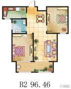 金鼎绿城2室2厅1卫96平方米户型图