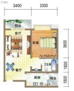 龙郡1室2厅1卫53平方米户型图