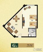 云海观澜1室1厅1卫76平方米户型图