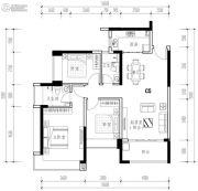 华发城建未来荟3室2厅2卫104平方米户型图