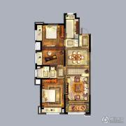 优山美地名邸3室2厅1卫116平方米户型图