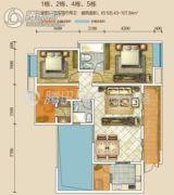 江南美邸3室2厅2卫105--107平方米户型图