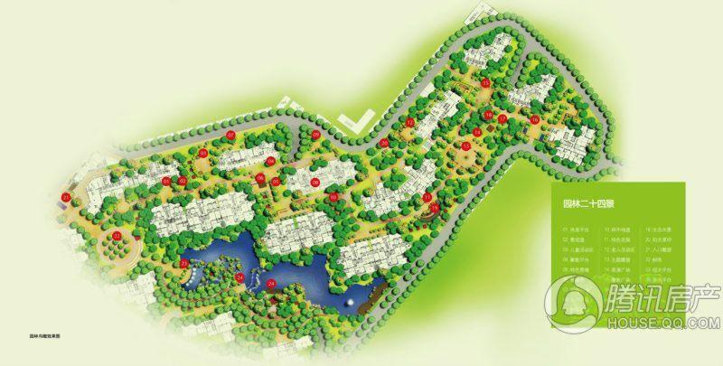 当代东湖壹号园林鸟瞰效果图