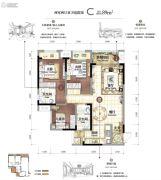 华侨城天际湾2室2厅2卫89平方米户型图
