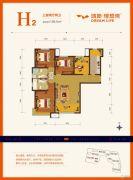 鸿坤・理想湾3室2厅2卫128平方米户型图