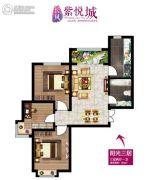 长风紫悦城3室2厅1卫84平方米户型图